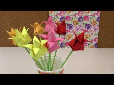 origami tulpen diy blumen falten anleitung deko einfach und schnell flower origami deutsch. Black Bedroom Furniture Sets. Home Design Ideas