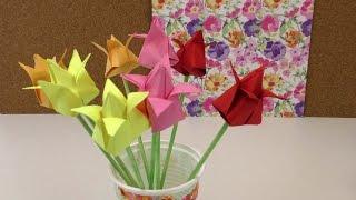 Origami Tulpen DIY / Blumen falten Anleitung / Deko einfach und schnell / Flower Origami deutsch
