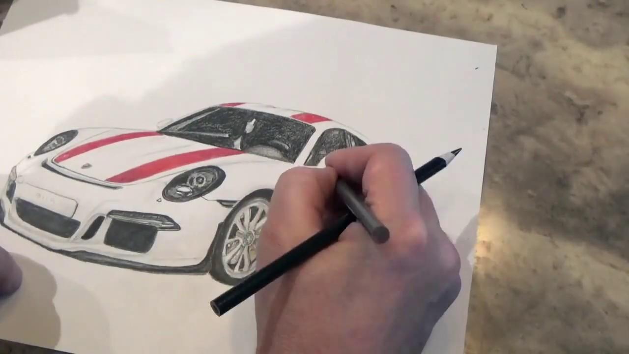Porsche 911 r colored pencil drawing time lapse
