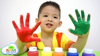 Learn colors hands paint Finger Family Song - Xavi ABCKids