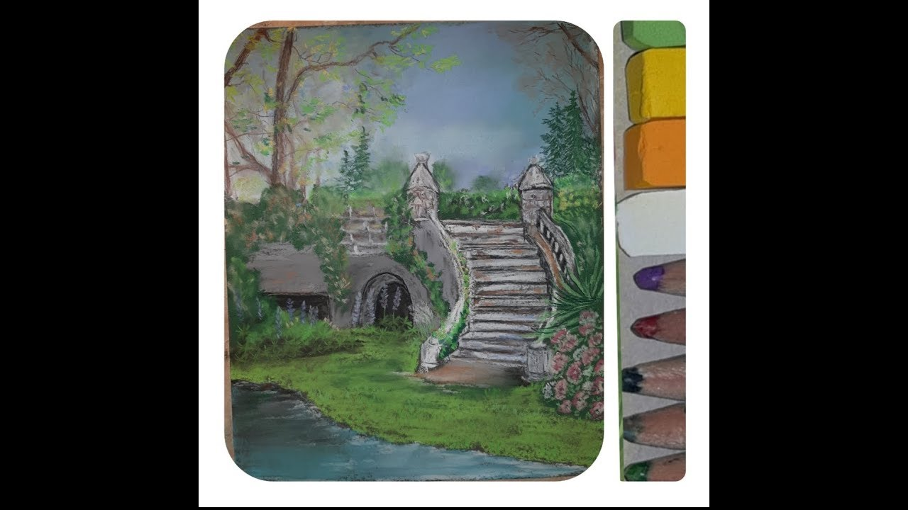 Draw a landscape step  by step painting with soft pastel