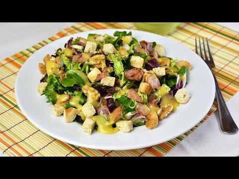 Bacon, Walnut & Raisin Salad with Honey-Mustard Dressing – Quick & Easy Salad Recipe