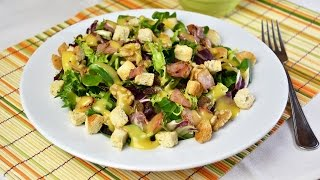 Bacon, Walnut & Raisin Salad With Honey-mustard Dressing - Quick & Easy Salad Recipe