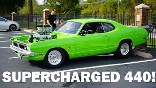 Blower Surging 1970-1973? Sublime Dodge Demon - Supercharged 440 Massive Burnout Leaving Car Show
