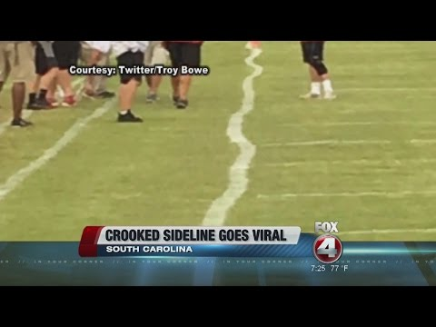 Crooked football sideline goes viral