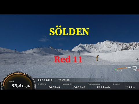 Sölden Skifahren Skiing, Red 11 Slope/Run, Rote Piste 11, Зельден Червона траса 11,Красная трасса 11