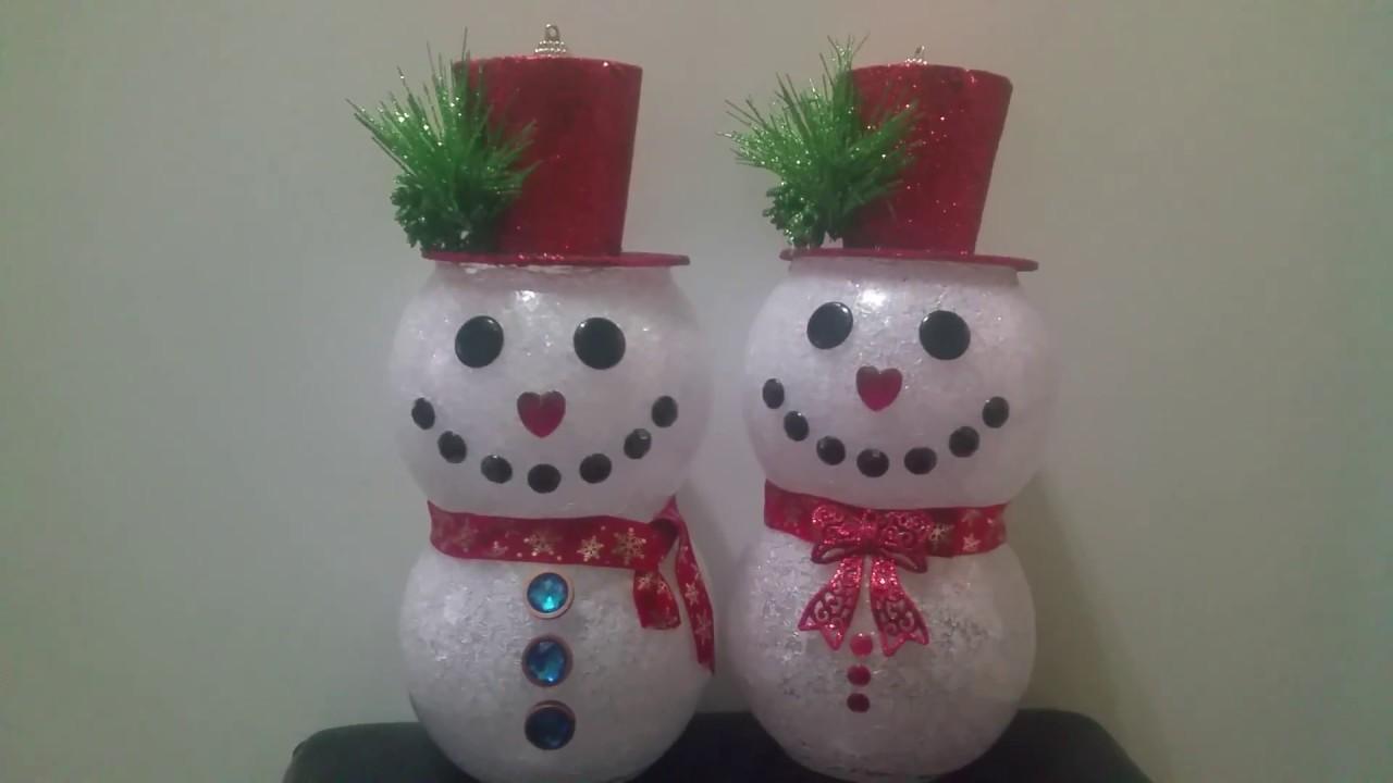 Dollar tree diy snowman youtube for Dollar tree fish bowls