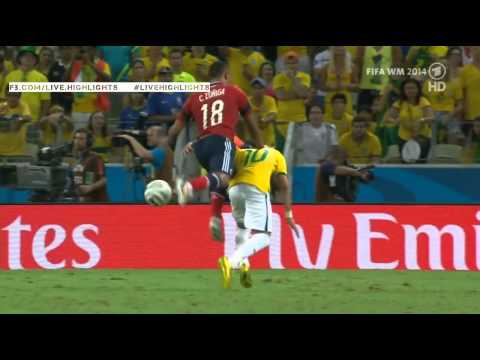 Neymar back injury vs Colombia World Cup 2014