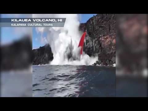 Fire Hose of Lava Flows From Kilauea Volcano into Sea 2 OF 2