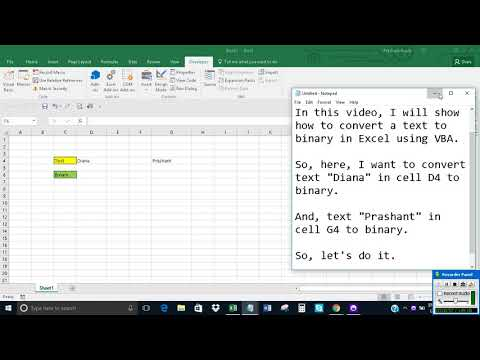 Convert text to binary in Excel using VBA