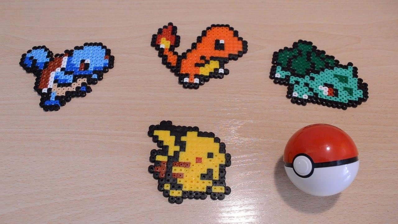Los 4 pokémon iniciales: Bulbasaur, Charmander, Squirtle y Pikachu (con  Hama/Perler beads)