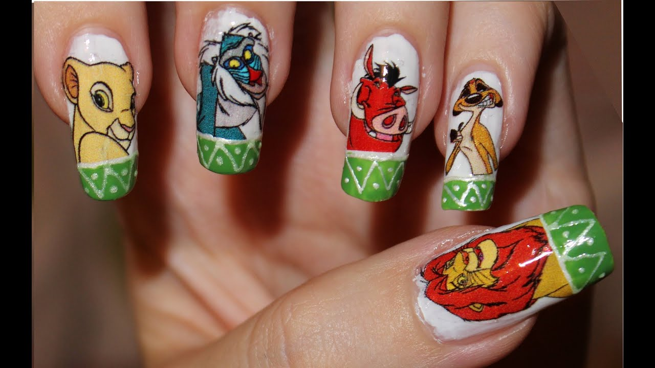 Nail Design - Lion King. Home Made Waterslide nail decals ...