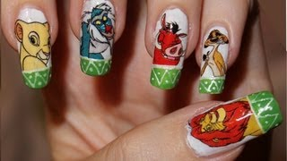 Nail Design - Lion King. Home Made Waterslide nail decals.