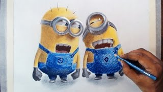 Drawing minions - Prismacolor pencils.