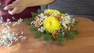 """Композиция """"Оазис"""" из цветов ♥Хризантема, Ирисы, Гербера, Ель, Гипсофила♥ подарок."""
