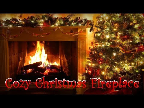 Cozy Crackling Fireplace with Christmas Decorations (Tree, Garland, Lights)