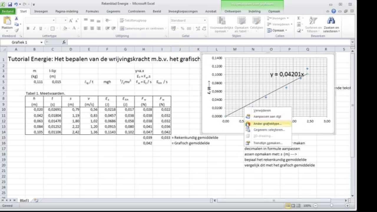 Tabellen En Diagrammen Voor Natuurkunde Excel 2010