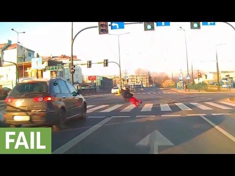 Pedestrian recklessly crossing busy street receives instant karma