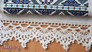 ♥ Кайма для рушника крючком • Как обвязать рушник • Кружево крючком • Crochet edging for towels.