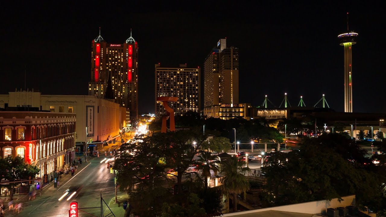 San Antonio Night Skyline 4k Timelapse Youtube