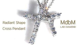 랩다이아몬드 레디언트 컷 십자가 목걸이 ( Labdia…