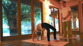 Personal Training on flexibility in the Maldives Soneva Fushi