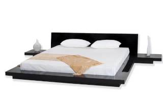 Fujian Modern Platform Bed + 2 Night Stands King (glossy Black).