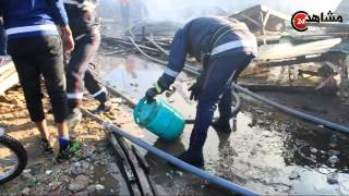 حريق مهول يتلف محلات تجارية بسوق تجاري بالبيضاء
