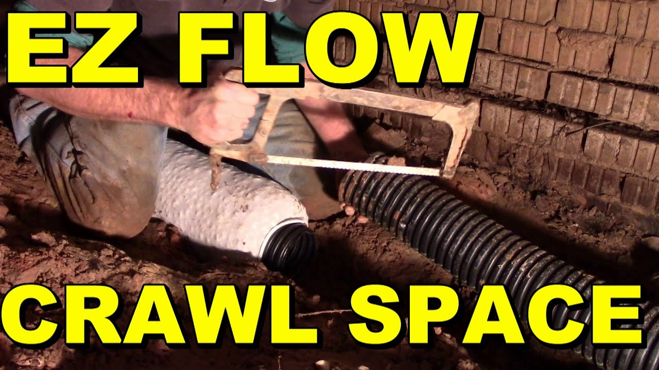 how to install ez flow drain pipe in crawl space youtube. Black Bedroom Furniture Sets. Home Design Ideas