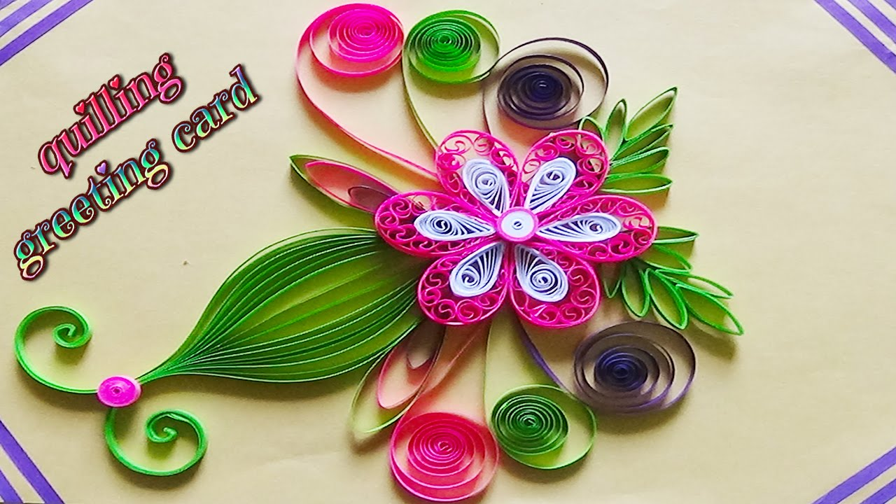 Paper art quilling designs on cards how to make a beautiful paper art quilling designs on cards how to make a beautiful greeting card youtube m4hsunfo