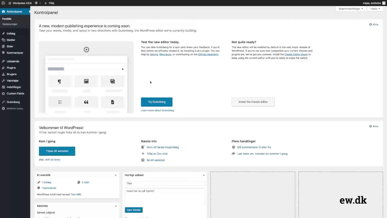 WordPress 4 9 8 - Gutenberg editor og Advanced custom fields | DANISH