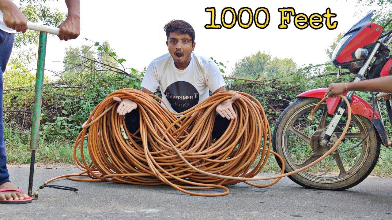 Filling Air From 1000 Feet Longest Pipe - क्या 1000 फिट दूर गाड़ी में हवा भरेगी?