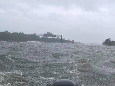 Waves Break Over Interstate 10 as Tropical Storm Harvey Brings Devastating Flooding to Houston