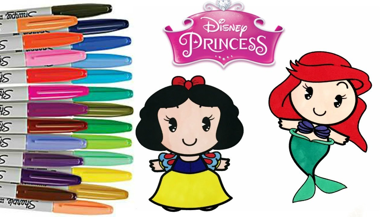 Disney Princess Cuties Coloring Book Pages Ariel Snow White Mulan ...