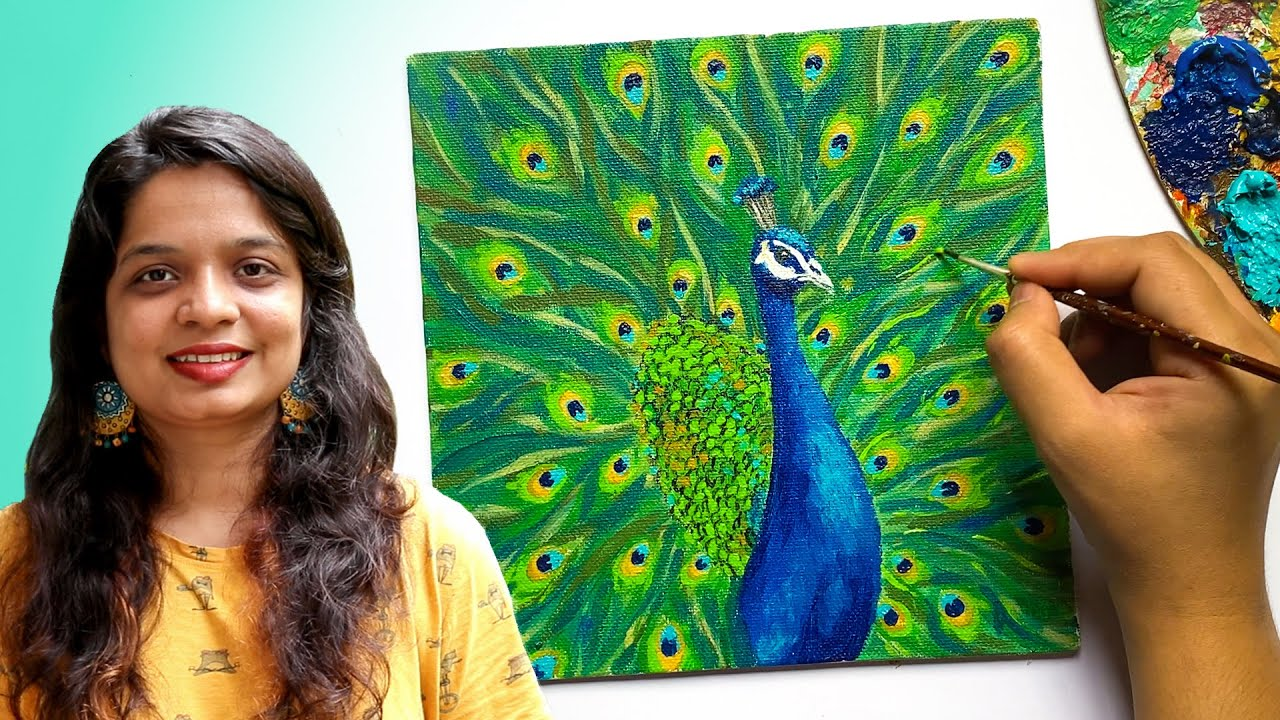 How to Paint a Peacock : Acrylics on Canvas Tutorial