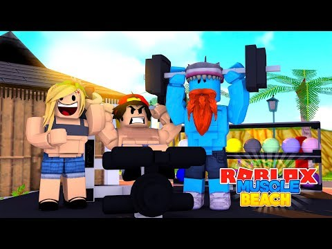 ROBLOX Adventure - GETTING SUPER FIT AT MUSCLE BEACH!!!