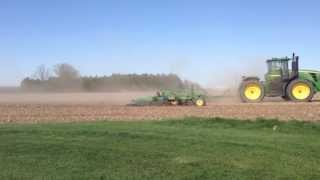 John Deere 9230  pulling a  45 foot Cultivator