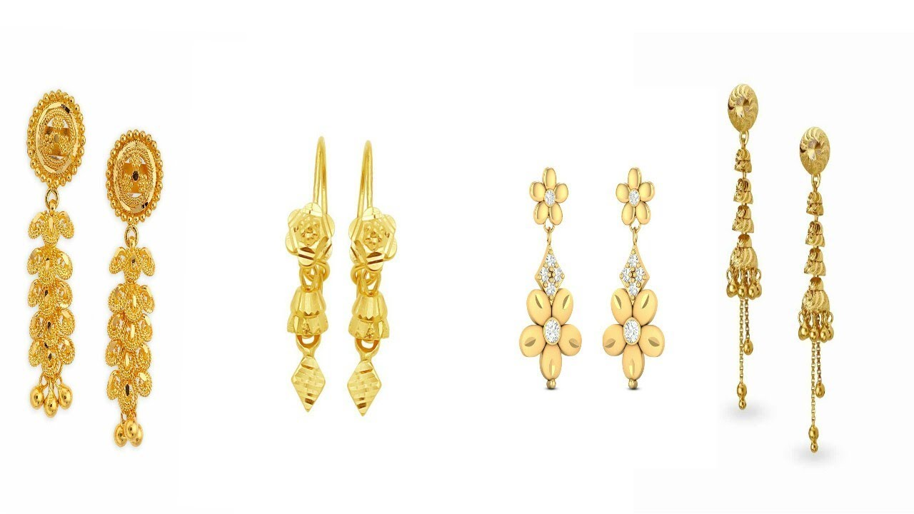 Traditional Tanishq Gold Dorp Earrings Design 2017