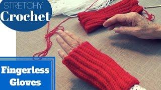 Single Crochet Fingerless Gloves (Stretchy)   Easy Mittens