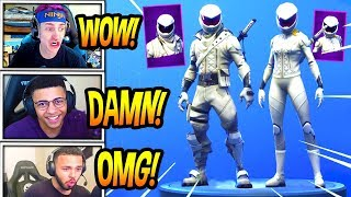 STREAMERS REACT TO 'NEW' OVERTAKER ' WHITEOUT SKINS! 'EPIC' Fortnite SAVAGE et MOMENTS FUNNY