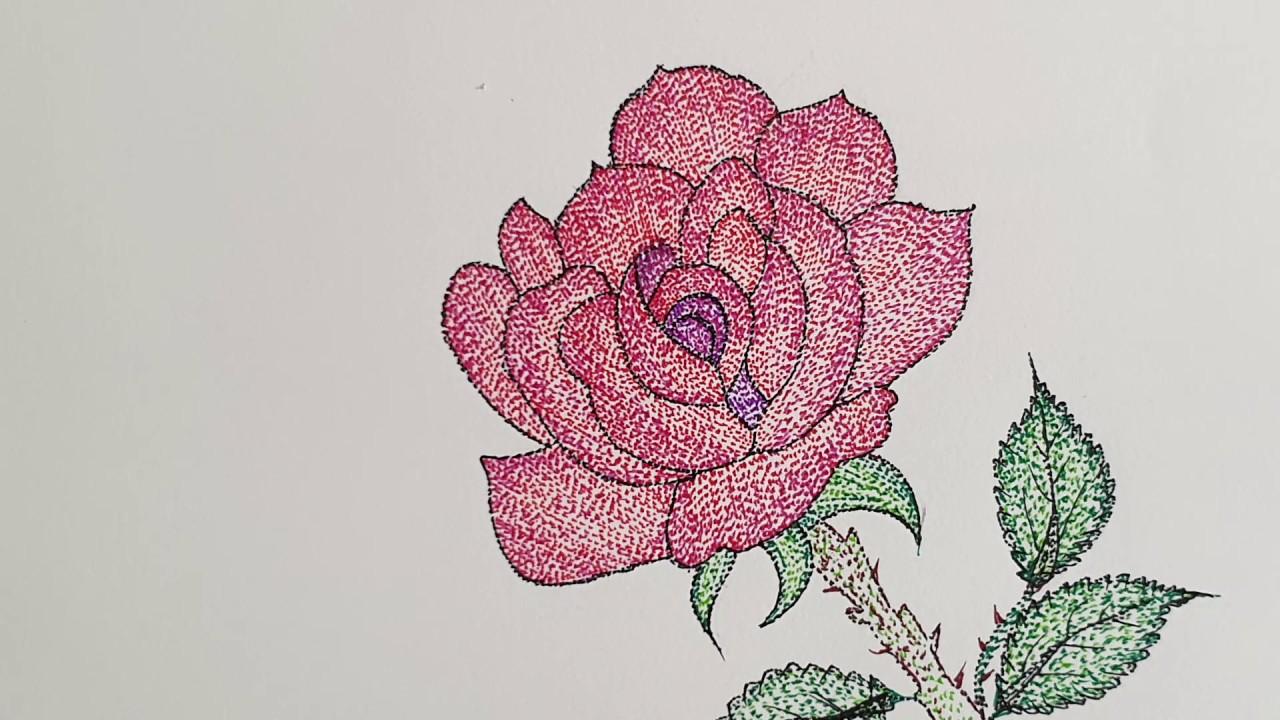 점묘화 장미꽃 그리기   easy to draw rose flowers - YouTube