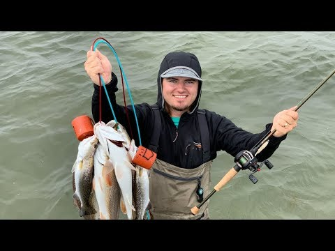 Wade Fishing Galveston Bay! (catch clean cook)