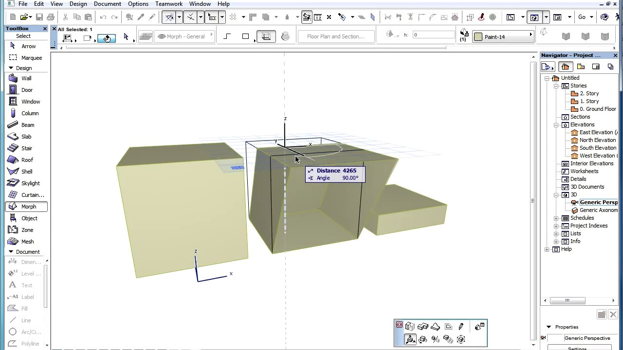 The archicad morph tool floor plan representation of morphs