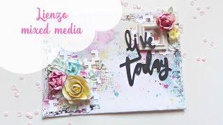 Tutorial cómo hacer un lienzo mixed media fácil paso a paso | Mixed media canvas