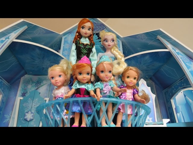 Playing in ELSA's ICE Castle ! Elsa and Anna toddlers & their friends