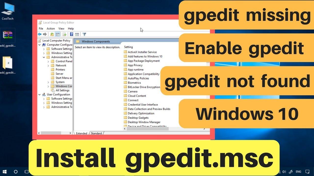 gpedit.msc not found in windows 10 home