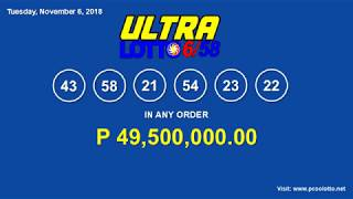PCSO Lotto Result November 6, 2018 (Ultra Lotto 6/58, Super Lotto 6/49, 6/42)