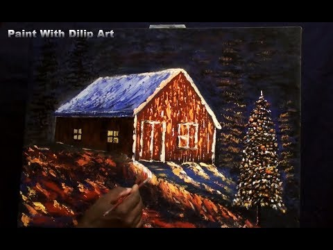 Christmas tree acrylic paintings for beginners