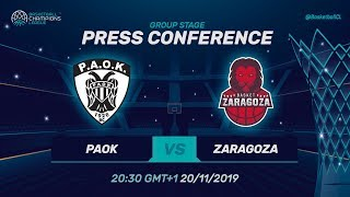 PAOK v Casademont Zaragoza - Press Conference - Basketball Champions League 2019-20