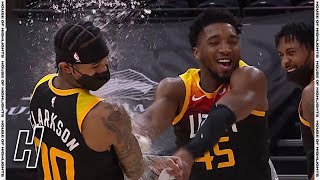 Donovan Mitchell Cools Off Jordan Clarkson With Water - 76ers vs Jazz | February 15, 2021